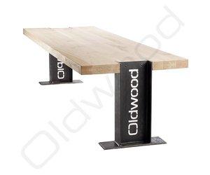 Robuuste houten tafel helsinki oldwood de woonwinkel