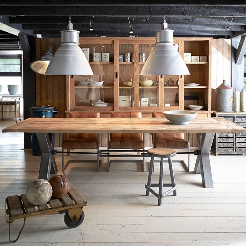 Robuuste tafels oud eiken tafel kansas oldwood de woonwinkel - Meubilair loungeeetkamer ...