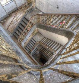 Scratch Photography - Foto's op geborsteld aluminium - diverse afmetingen Spiral stairs - foto op aluminium