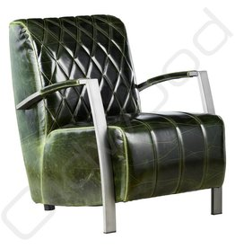 SHOWROOM SALE! Lederen Fauteuil - Diamond Green Glossy
