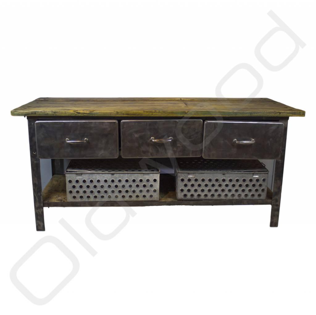 Industri le werkbank dressoir van metaal en hout oldwood de woonwinkel - Houten keuken en metaal ...