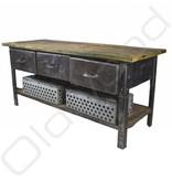 Industriële werkbank / dressoir van metaal en hout