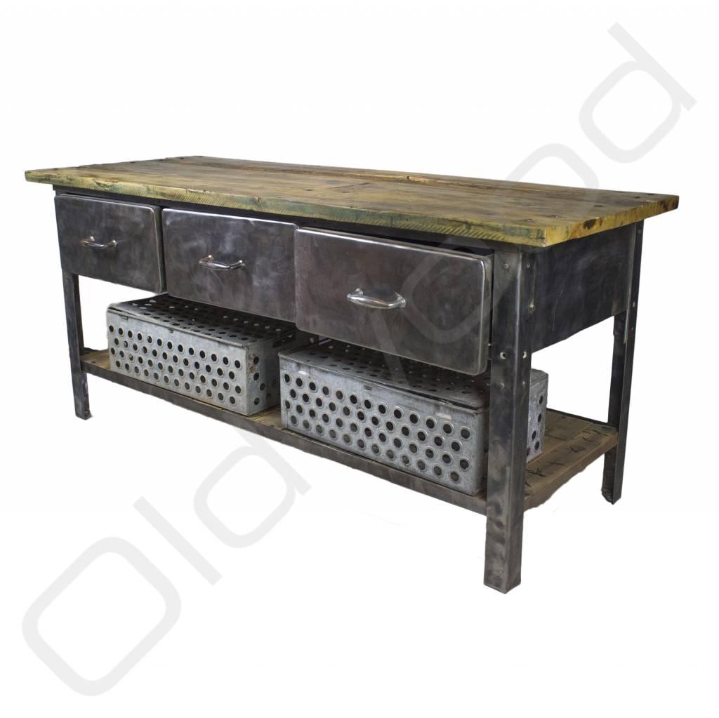 Industri u00eble werkbank    dressoir van metaal en hout   Oldwood   De Woonwinkel