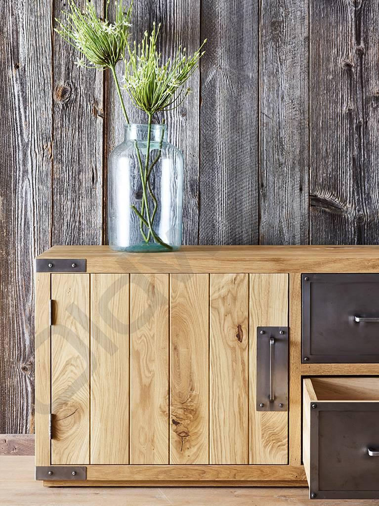 Tv meubel / dressoir met metalen lades - Oldwood - De Woonwinkel