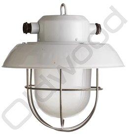 Industriële lampen - glas en korfje licht grijs