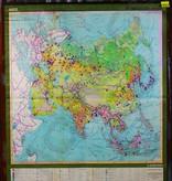 Vintage linnen schoolkaart van Eurazië