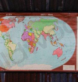 (gereserveerd) Vintage linnen wereldkaart van 1871-1914