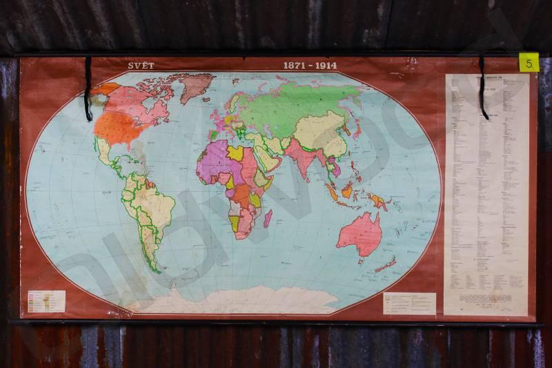 Vintage linnen wereldkaart van 1871-1914