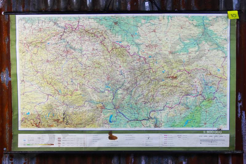 Vintage linnen schoolkaart van Tsjechië