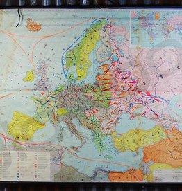Gereserveerd - Vintage linnen schoolkaart van Europa tijdens de tweede wereldoorlog