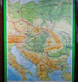 Vintage linnen schoolkaart van Oost-Europa