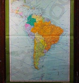 Vintage linnen schoolkaart van Zuid-Amerika
