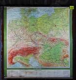 Vintage linnen schoolkaart van Centraal-Europa