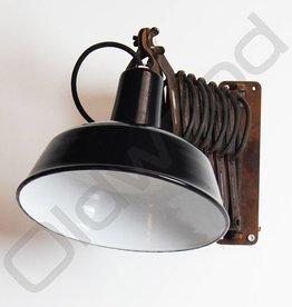 Vintage industriele emaille wandlamp / schaarlamp / scharnierlamp