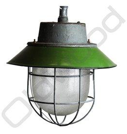 Industriële lamp - Akehorn groen met kooi