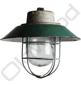 Industriële korflamp - Rolf donker groen met kooi