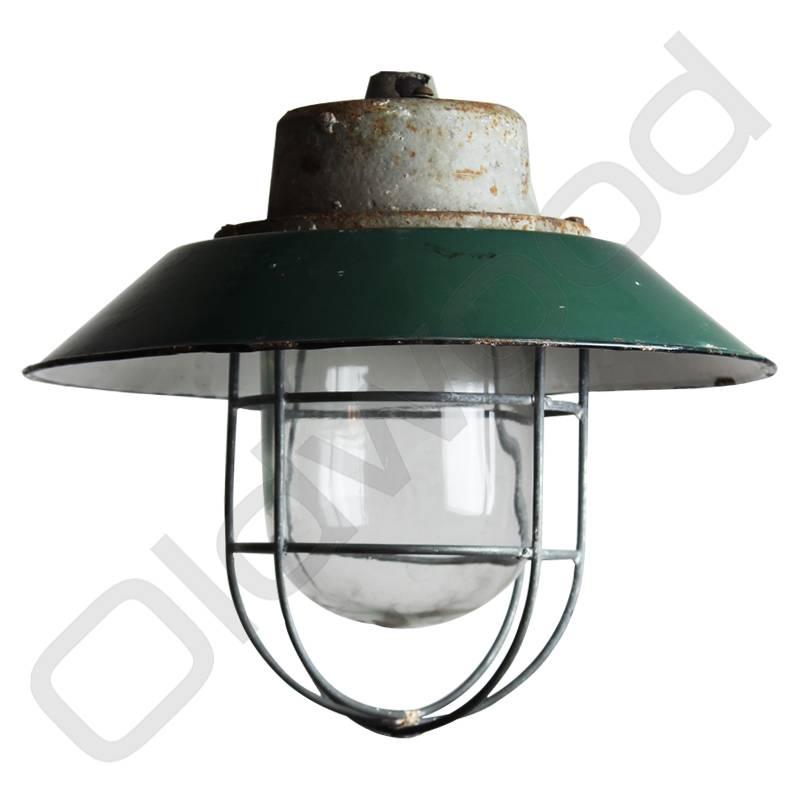 Industriële lamp - Akehorn donker groen met kooi