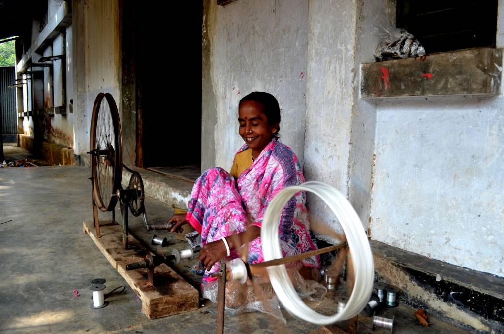 Motka silk being woven in Bangladesh