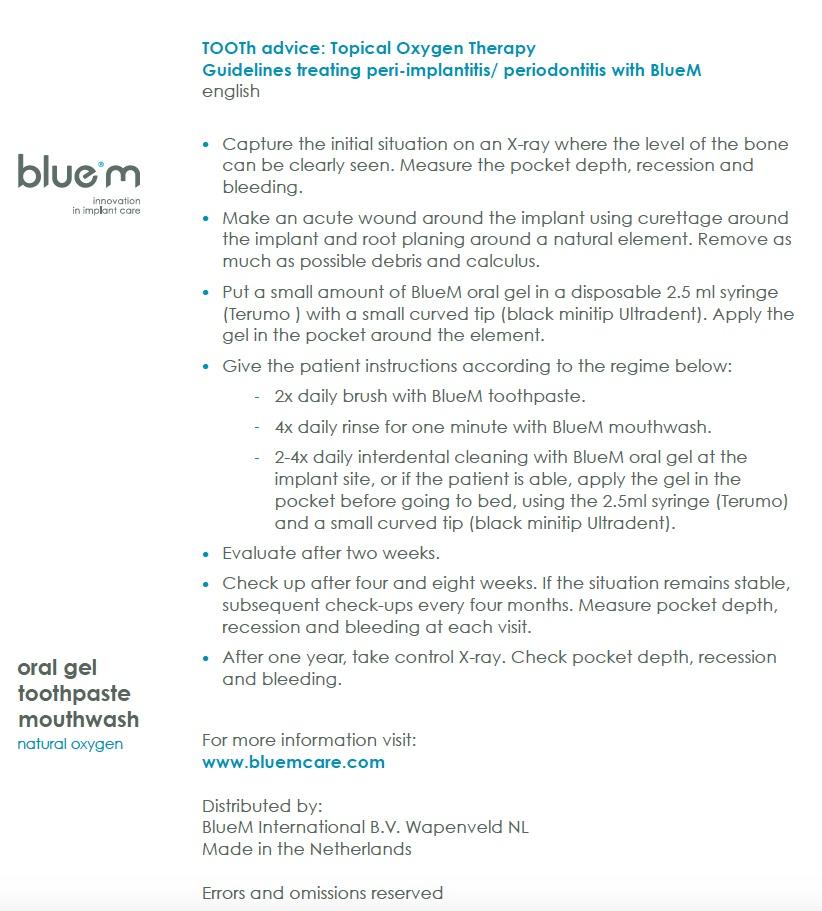 Treatment prtocol peri-implantitis with BlueM