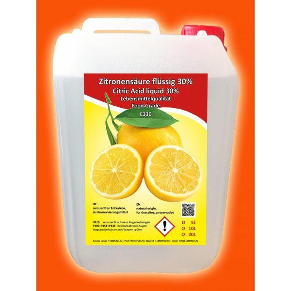 Zitronensäure flüssig 5 Liter Kanister 30% Kalklöser E330 Entkalker