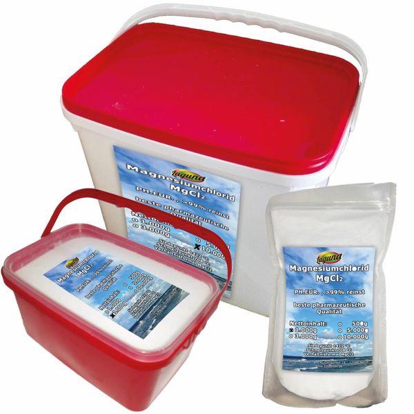Magnesiumchlorid Hexahydrat MgCl2 Ph.Eur. PHARMAWARE reiner als Lebensmittel 500g 1kg 3kg 5kg 10kg 25kg - für hochreines Magnesiumöl