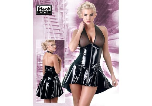 Black Level Black Level – Kleidchen in Schwarz im Wetlook mit Netzmaterial