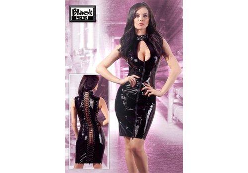 Black Level Lack-Kleid mit Reißverschlüssen in Schwarz
