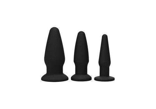 Trinity Vibes Buttplug-Kit aus Silikon in Schwarz