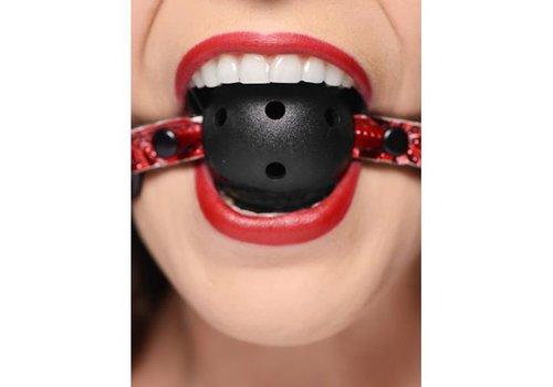 Crimson Tied Ball Gag mit Luftlöchern in Schwarz/Rot