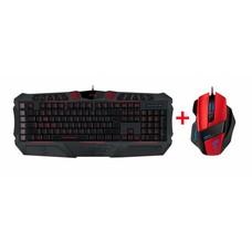 PC Special Price - Speedlink, PARTHICA Core Gaming Keyboard (US Layout) (Zwart) + Decus Gaming Mouse (Rood / Zwart)