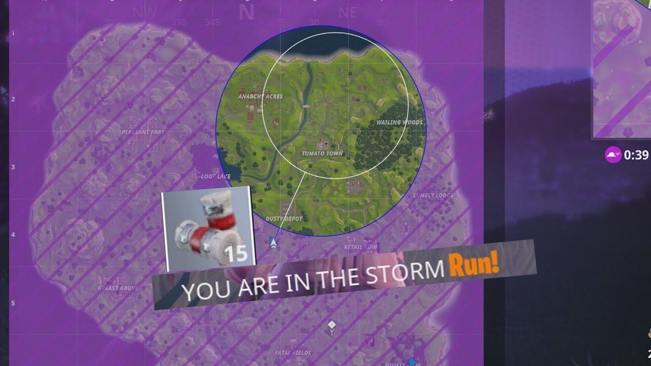 De storm gezien op de mini-map