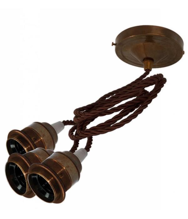 Hanglamp '3 times Edison' oud messing