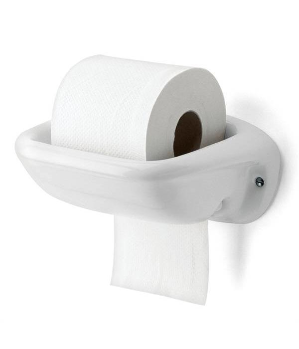WC rolhouder van porselein  Bakelietnl  Nieuw Bakeliet  New Bakelite  Ne # Jysk Wc Rolhouder_081306