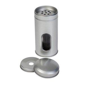 Strooibus zilver rond 50x105mm met venster
