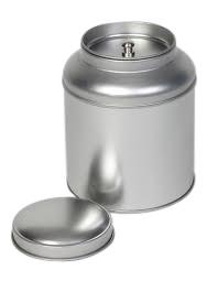 Kruidenblik rond zilver met binnendeksel 90x115mm