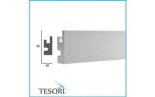 Tesori KD301 (90x40 mm), lengte 1,15 m - LED sierlijst voor indirecte verlichting XPS
