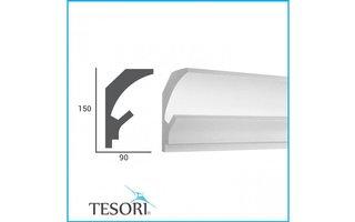 Tesori KD202 (150 x 90 mm), lengte 1,15 m - LED sierlijst voor indirecte verlichting XPS