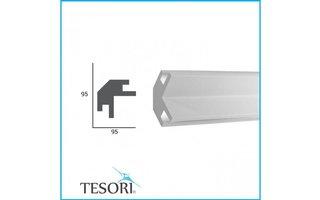 Tesori KD203 (95 x 95 mm), lengte 1,15 m - LED sierlijst voor indirecte verlichting XPS
