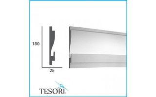 Tesori KD404 (180 x 44 mm), lengte 1,15 m , LED sierlijst voor indirecte verlichting XPS - Verzonken / Semi-Verzonken