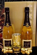 Louis de Sacy Champagner edler Präsentkarton mit Champagner, getrüffelter Entenleberpastete, elegantem Tischlicht und originellen Pralinenkorken
