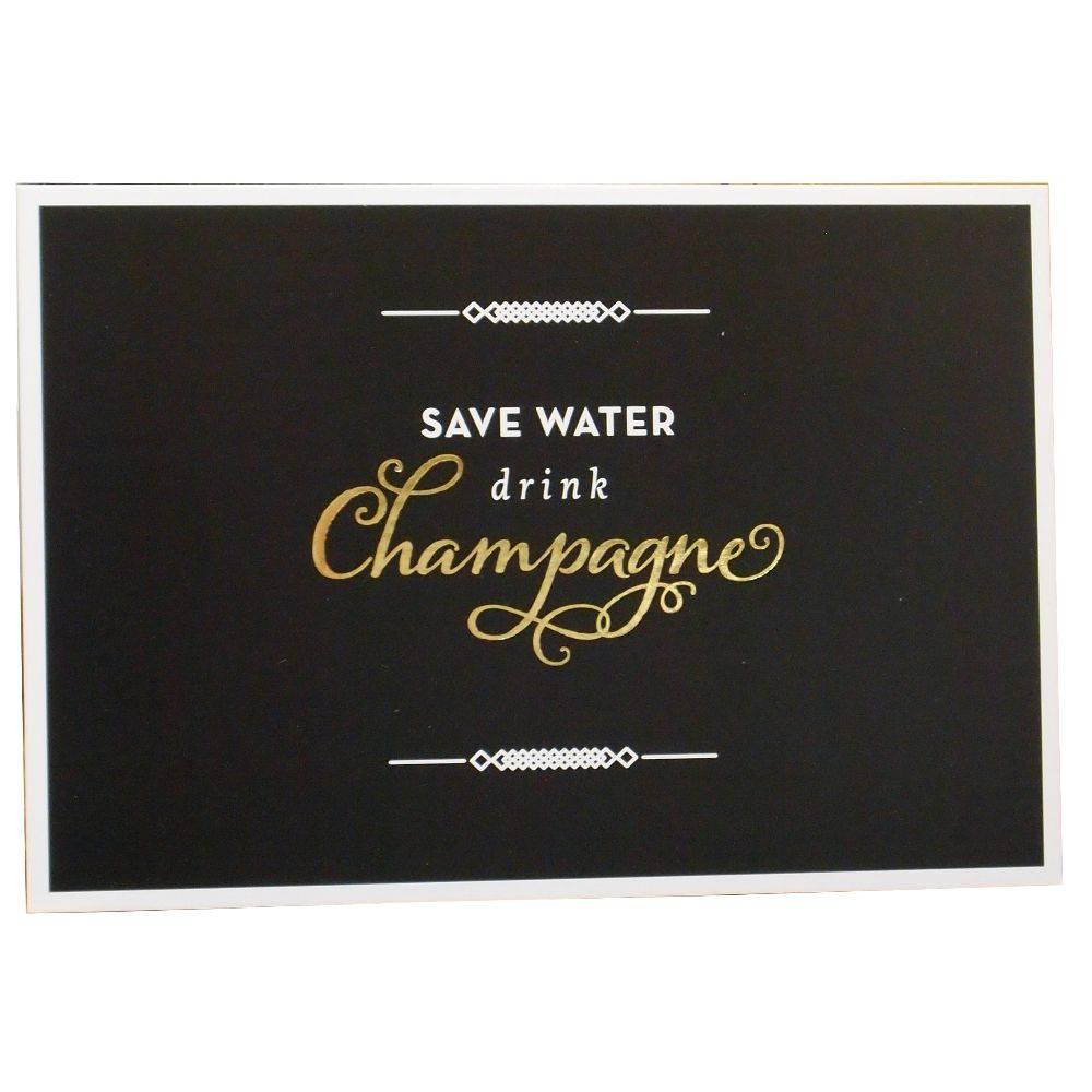 Postkarte Wasser sparen - Champagner trinken