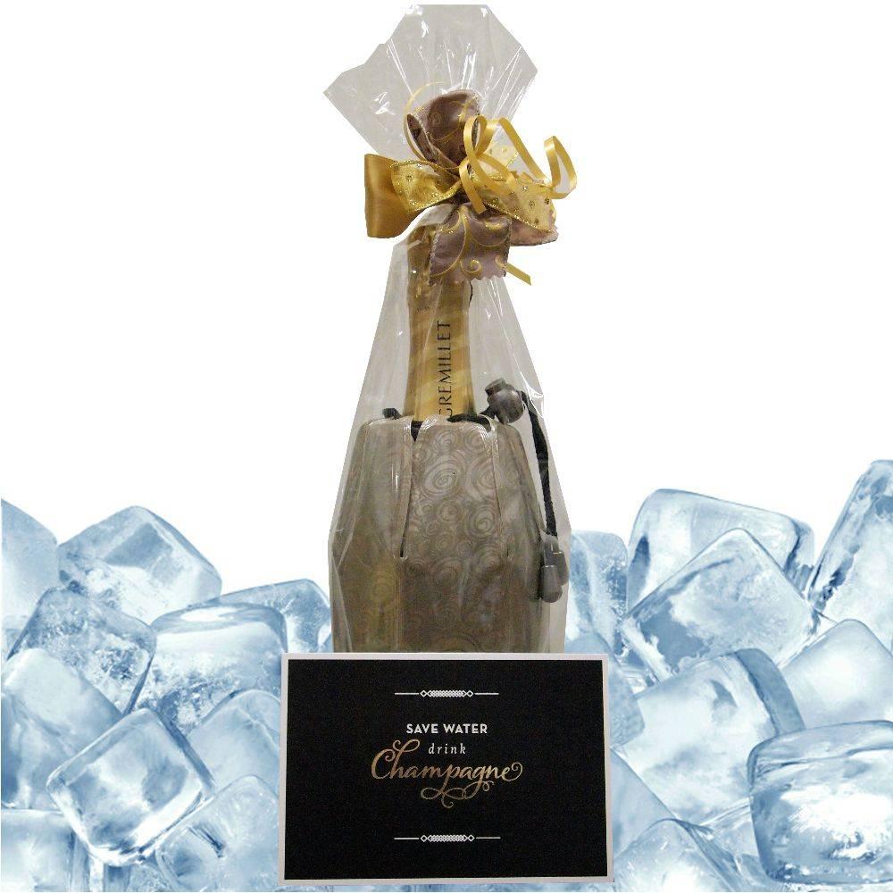 Gremillet Champagner sommerliches Champagner Geschenk: Champagner mit passender Kühlmanschette und Grußkarte