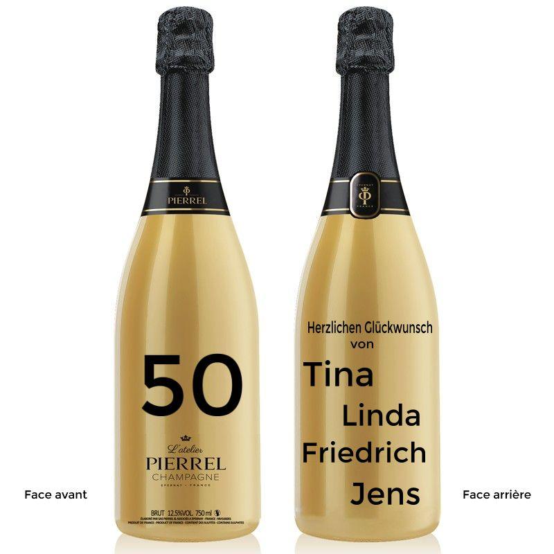 Pierrel personalisierter Champagner runder Geburtstag