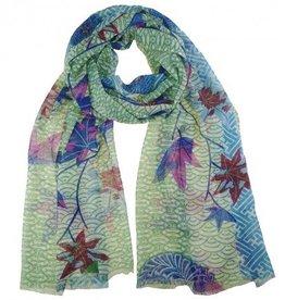kuscheliger Schal für windige Herbsttage - in Blau- und Grüntönen