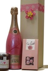 Duval-Leroy Champagner Frühstück in Pink mit RoséChampagner, Marmelade und Pralinen