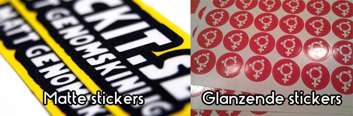 Glanzende stickers en matte stickers