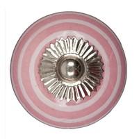 Porzellanknauf pink mit weißen Streifen