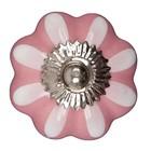 Möbelknopf pink weiß Blume