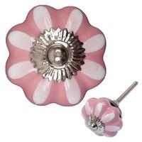 Porzellanknauf pink/weiße Blume