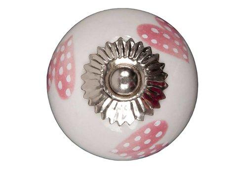 Keramik Möbelknopf weiß mit hellpink/weiß gepunktete Herzchen